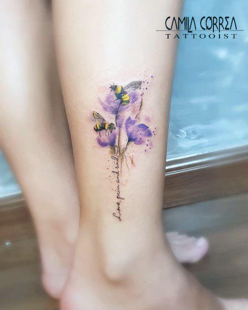 Bee On Lavendar Tattoo Womens Legs