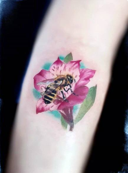Bee On Pink Flower Tattoo For Women