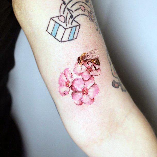 Bee On Pink Flowers Tattoo For Women