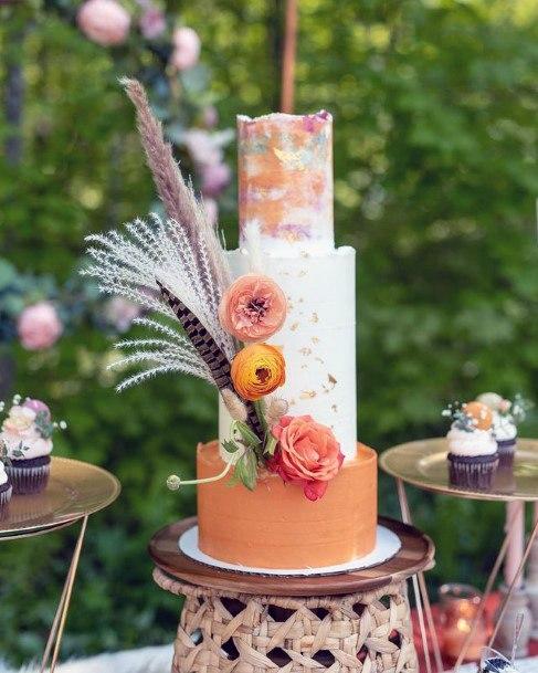 Beguiling Boho Chic Orange Cake 3 Tier Womens Wedding