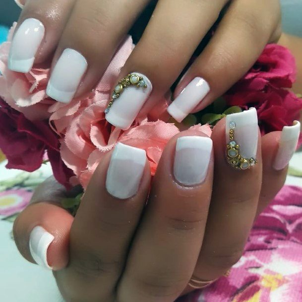 Bejewelled Charming White Nails Women