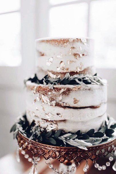 Bejewelled Gold And White Wedding Cake