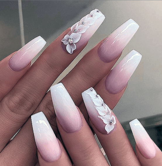 Bejewelled White Ombre Nails Women