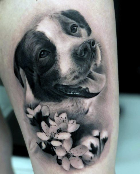 Beloved Dog With Flowers Tattoo For Women