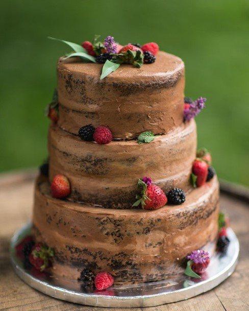 Berries Laden Chocolate Wedding Cake