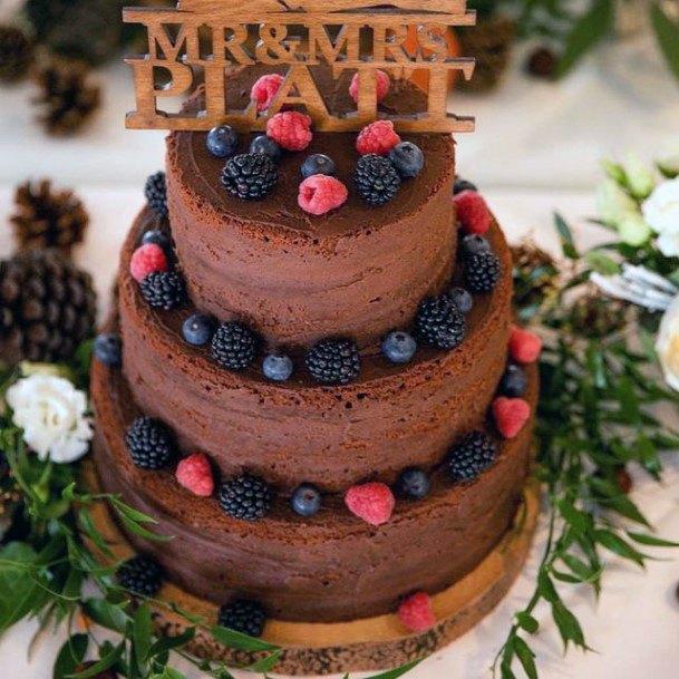Berry Chocolate Cake Womens Wedding 3 Tier
