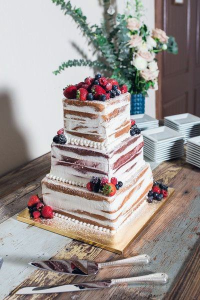 Berry Fruit Square Wedding Cake