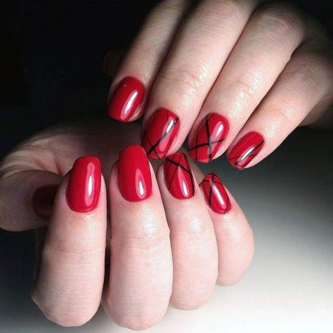Berry Red Bright Nails With Black Cross Art For Women