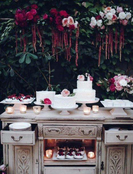 Berry Red Decor Wedding Cake Fowers