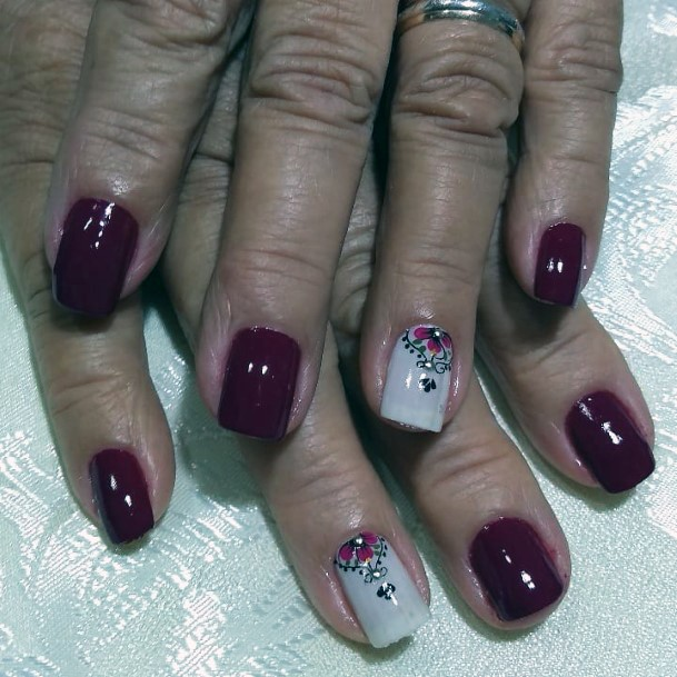Berry Red Decorated Charming Nails Women