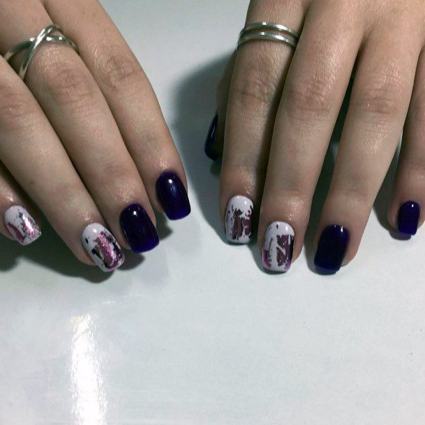 Berry Red Shellac Nails With White Art For Women