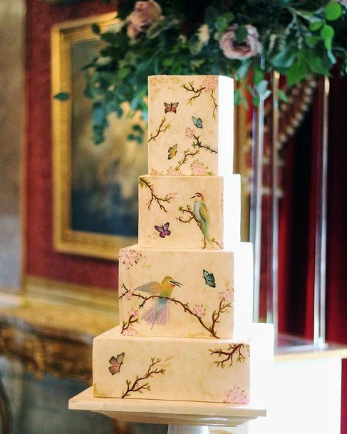 Bird Design Square Wedding Cake