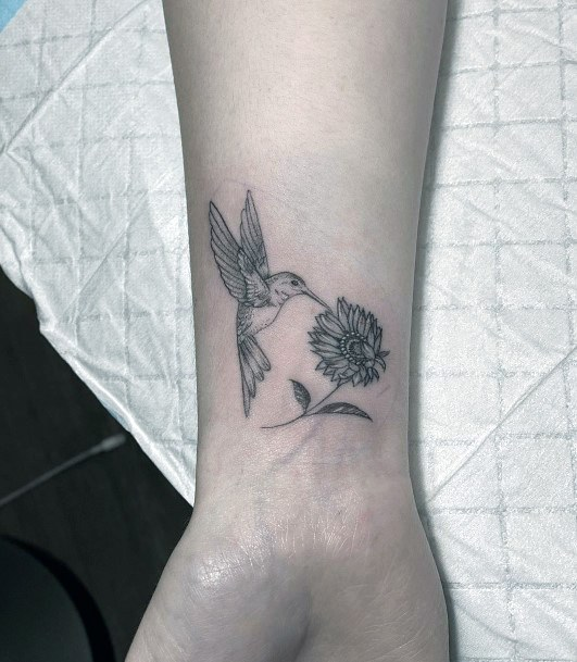 Bird Pecking On Flower Tattoo Women Wrist