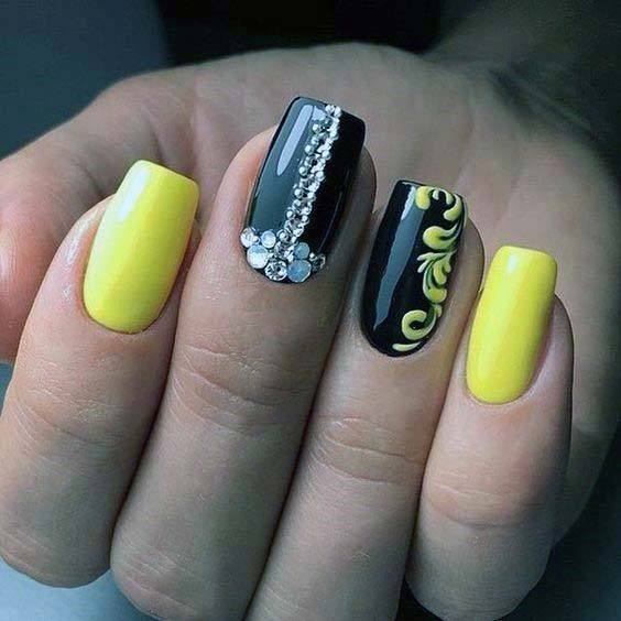 Black And Bright Yellow Nails For Women