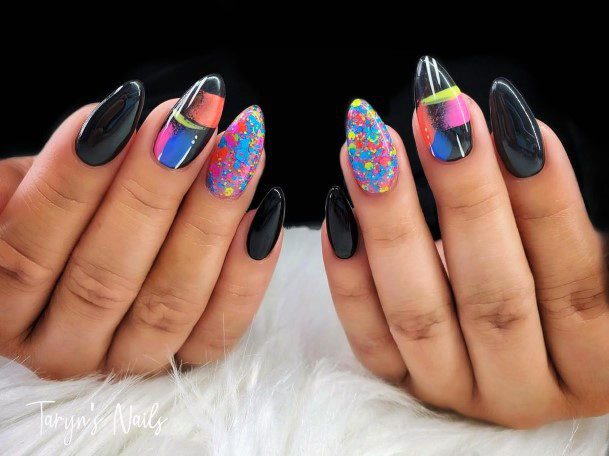 Black And Colorful Nail Ideas For Women