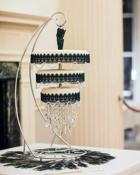 Black And Cream Chandelier 3 Tier Wedding Cake Women Art