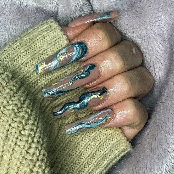 Black And Dark Blue Water Nails Women