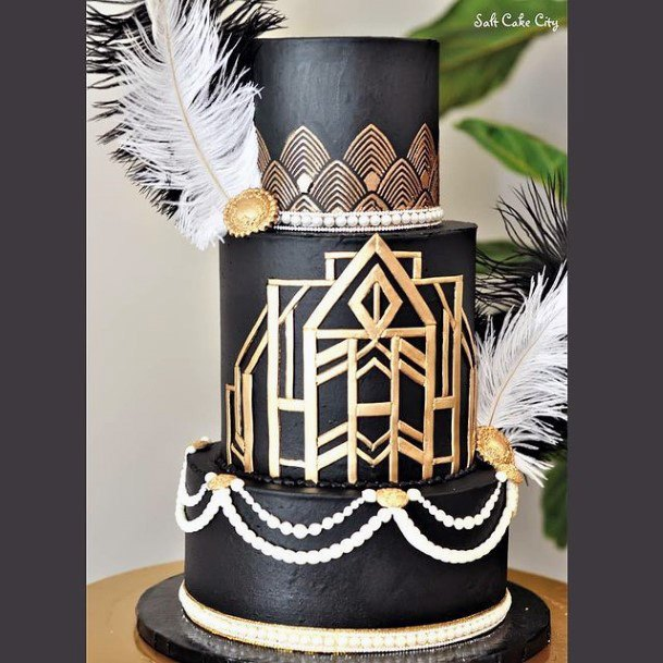 Black And Golden Angled Design Wedding Cake