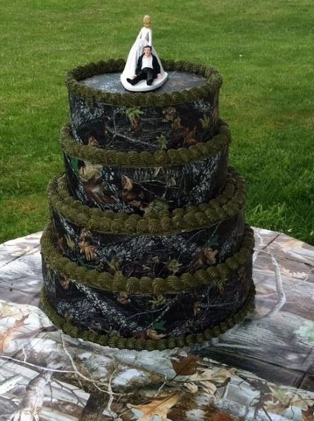 Black And Green Camo Wedding Cake