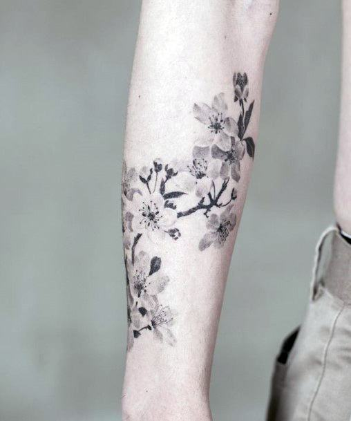 Black And Grey Cherry Blossom Tattoo For Women
