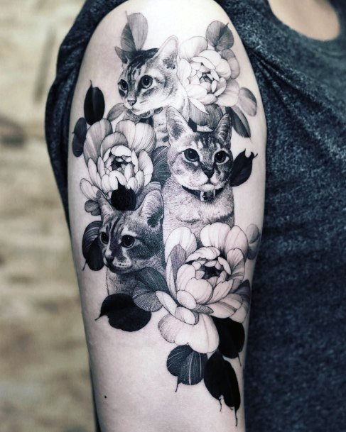 Black And Grey Flowers And Cat Tattoo Womens Arms