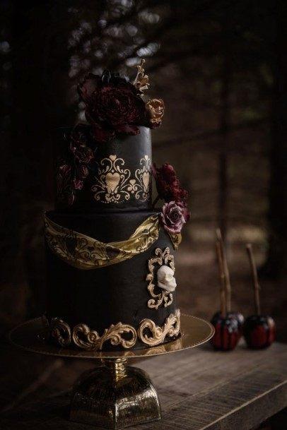 Black And Metal Halloween Wedding Cake