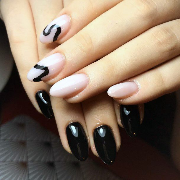 Black And Nude Pink Nails