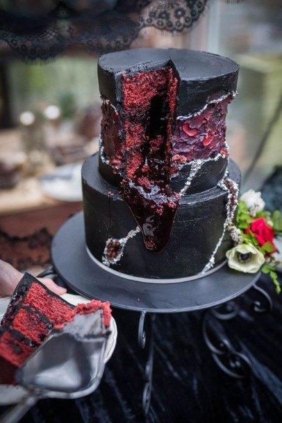 Black And Red Halloween Wedding Cake