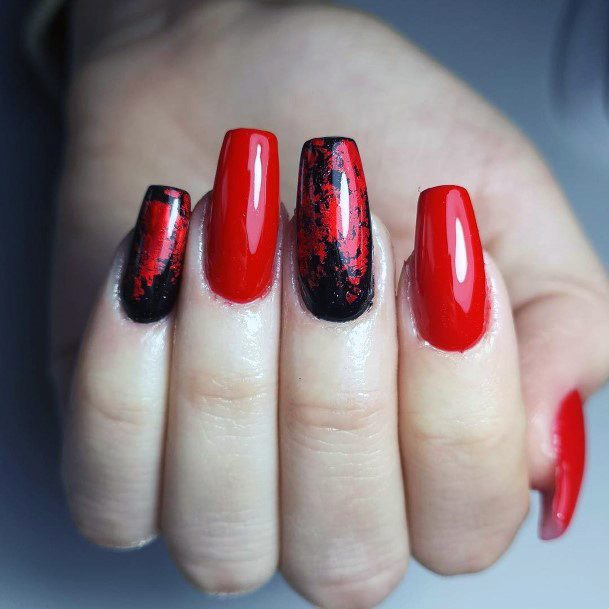 Black And Red Mystical Shellac Nails For Women