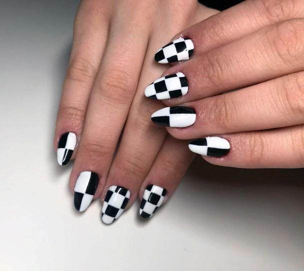 Black And White Chess Design For Women On Nails