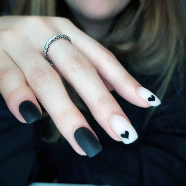 Black And White Colored Heart Design Matte Finished Nails