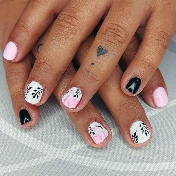 Black And White Flamingo Nails Women