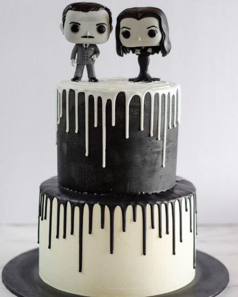 Black And White Melting Icing Halloween Wedding Cake
