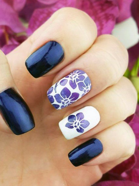 Black And White Nail Design With Orchid