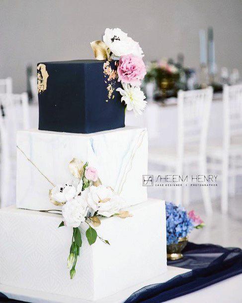 Black And White Square Wedding Cake