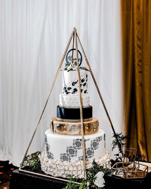 Black And White With Gold Wedding Cake