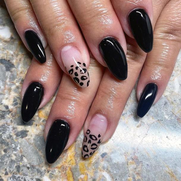 Black Animal Block Shellac Nails For Women