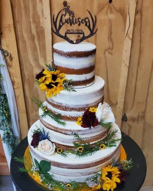 Black Antlers Rustic Wedding Cake Toppers