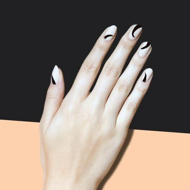 Black Arch Design On Nude Nails For Women