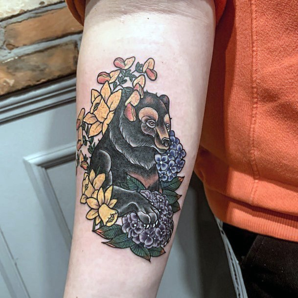 Black Bear And Flowers Tattoo For Women