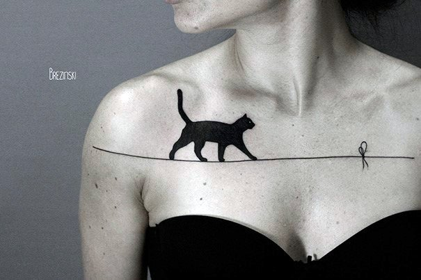 Black Cat On A Rope Tattoo For Womens Chest Art
