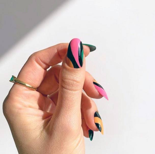 Black Curved Art On Colorful Nail Ideas For Women