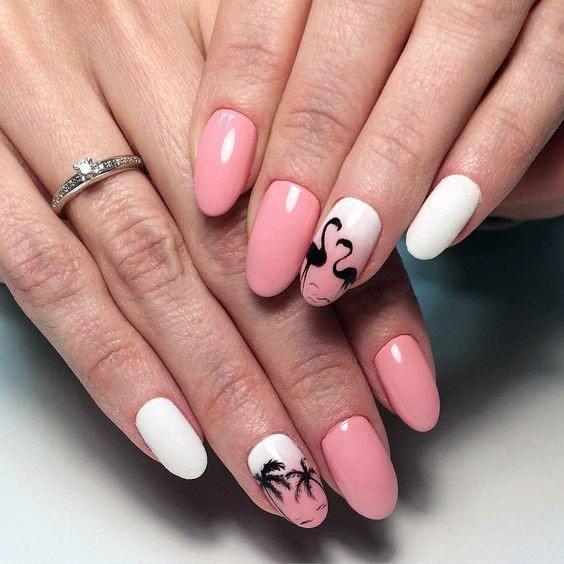 Black Flamingos On Pink White Nails Women