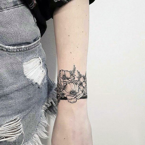 Black Floral Tattoo Womens Wrists