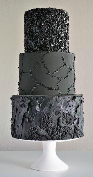 Black Gem Buttercream Wedding Cake
