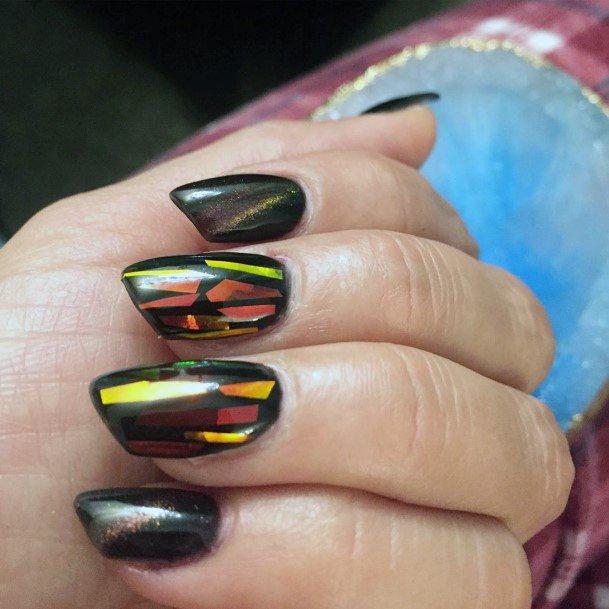 Black Glass Gel Nails Women