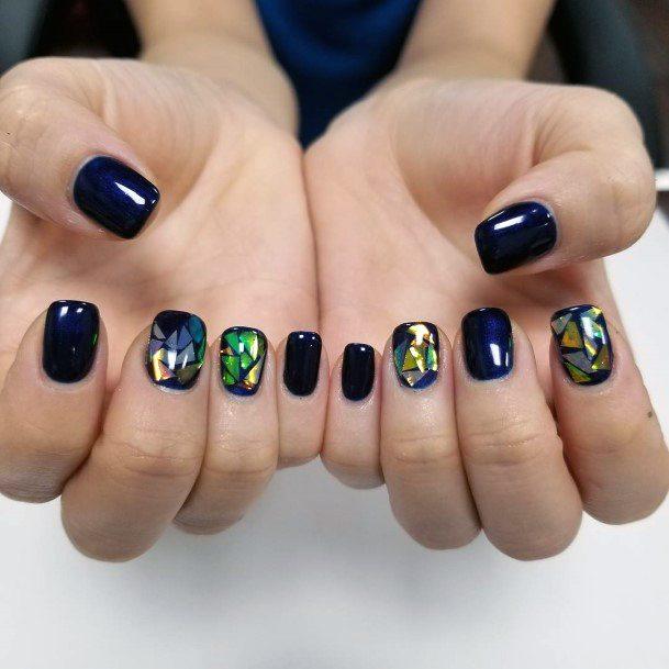 Black Glass Nail Ideas For Women