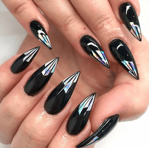 Black Glass Nails With Unique Tip For Women