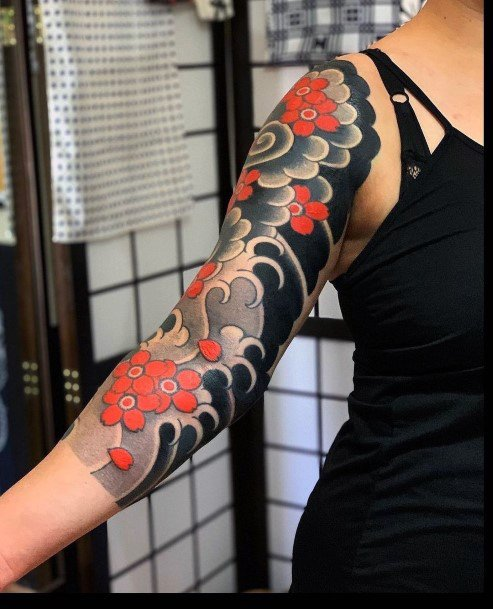 Black Grey Red Art Cherry Blossom Tattoo For Women Japanese Style