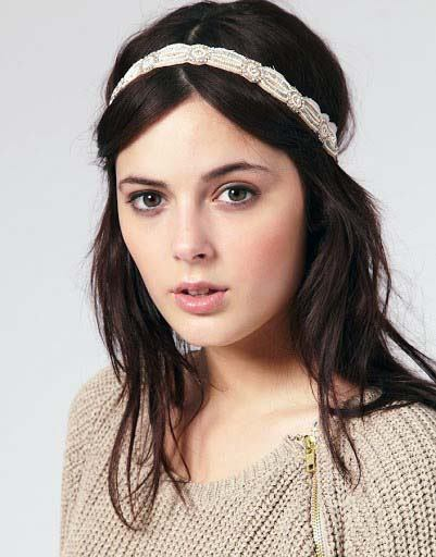Black Haired Female With Pearl Headband